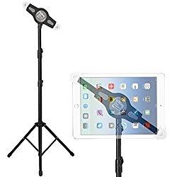 ANKO Universal iPad and Tablet Floor Height Adjustable 360 Rotating Tripod Tablet Mount Stand for iPad Mini, iPad Air, iPad 1,2,3,4, Samsung Galaxy and All 7″ to 12″ Tablets(BLACK)