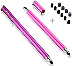 Bargains Depot (2 Pcs) [New Upgraded][0.18-inch Small Tip Series] 2-in-1 Stylus/Styli 5.5-inch L with 10 Replacement Rubber Tips -Purple/Pink