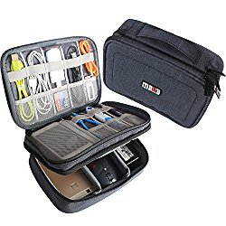 BUBM Gadget Organizer Case, Ultra-compact Electronics Organizer for Data Cables, Chargers, Plugs, Memory Cards, CF Cards and More–a Sleeve Pouch Fits for iPad Mini (Medium, Black)