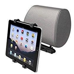Car Seat Back Headrest Mount Holder Expandable Cradle Base Travel Kit for iPad Pro 9.7, Air, Air 2 – iPad Mini 2 3 4 Retina – iPad 2 3 4 – Galaxy Tab A, Tab S, LG G Pad