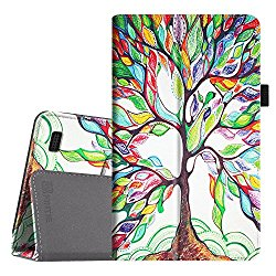 Fintie Folio Case for Fire 7 2015 – Slim Fit Premium Vegan Leather Standing Protective Cover Case for Amazon Fire 7 Tablet (will only fit Fire 7″ Display 5th Generation – 2015 release), Love Tree