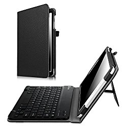 Fintie Samsung Galaxy Tab E 9.6 Keyboard Case – Slim Fit PU Leather Stand Cover with Premium Quality [All-ABS Hard Material] Removable Wireless [Long Life Battery] Bluetooth Keyboard, Black