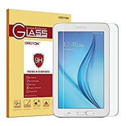 Galaxy Tab E Lite 7.0 / Tab 3 Lite 7.0 Glass Screen Protector, OMOTON Tempered-Glass Protector with [9H Hardness] [Crystal Clear] [Scratch-Resistant] [Bubble Free Easy Installation]