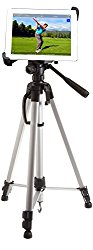 iShot G10 Pro Large Universal iPad Pro Tablet Tripod Mount + 60″ Pro Pan Head Camera Tripod with Bag Bundle Kit – Adjustable for All 8″ to 13″ Tablets With or Without a Case