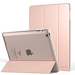 MoKo Case for iPad 2 / 3 / 4 – Ultra Slim Lightweight Smart-shell Stand Cover with Translucent Frosted Back Protector for iPad 2 / The NEW iPad 3 (3rd Gen) / iPad 4, Rose GOLD (with Auto Wake / Sleep)