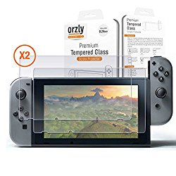 Nintendo Switch Screen Protector TWIN PACK by Orzly – Transparent Super Tough Protective Oleophobic Screen Guards – 2x Solid Premium Tempered Glass Screen Protectors for Nintendo Switch Tablet Screen