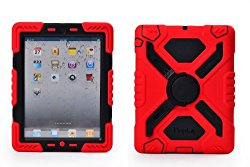 Pepkoo Ipad 2/3/4 Case Plastic Kid Proof Extreme Duty Dual Protective Back Cover with Kickstand and Sticker for Ipad 4/3/2 – Rainproof Sandproof Dust-proof Shockproof (Red/black)