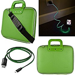 SumacLife Cady 12.9-inch Tablet Bag for Apple iPad Pro with Lightning Micro USB Data Cable (Green)