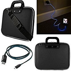 SumacLife Cady 12-inch Tablet Bag for Microsoft Surface Pro 4 & 3 with Lightning Micro USB Data Cable (Black)