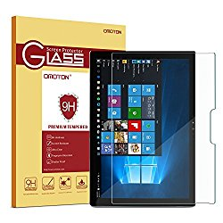 Surface Pro 4 Screen Protector, OMOTON [Surface Pencil Compatible – Tempered Glass] Screen Protector with [2.5D Round Edge] [9H Hardness] [Crystal Clear] [Unti-Resistant] for Surface Pro 4 12.3 inch