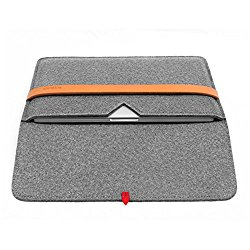 TOPHOME 13-13.3 Inch Snugg Fit Bag Genuine Leather Lock Felt Sleeve Case Cover Carrying Protective Bag with Pocket and Pouch for Apple MacBook /MacBook Air/ New Style of MacBook Pro, Gray