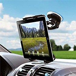 Universal 360 Degree Rotatable Windshield Car Mount Window Tablet Holder for iPad Pro 9.7, Air, Air 2 – iPad Mini 2 3 4 Retina – iPad 2 3 4 – Galaxy Tab A, Tab S, LG G Pad