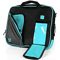 VanGoddy Pindar Sling PRO Deluxe Shoulder Messenger Carrying Bag BLACK & AQUA BLUE for Microsoft Surface Pro 4 / Pro 3, Surface 3