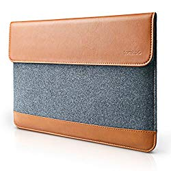 10.5″ Tablet Sleeve, tomtoc Slim 10.5 Inch Tablet Sleeve Leather Felt Case Bag with Accessory Pocket, Compatible with New iPad Pro 10.5 | 9.7″ iPad 2017/ iPad Pro/iPad Air 2 9.7-inch