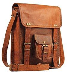11″ Men's Genuine Leather Small Briefcase Messenger Satchel Tab Tablet Bag