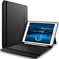 Bosewek New iPad 9.7 2018 Case With Keyboard – Lightweight One-piece Wireless Keyboard Case with Pencil Holder for Apple New iPad 9.7 2018/2017/iPad Pro 9.7/iPad Air 2/iPad Air Tablet (Black)