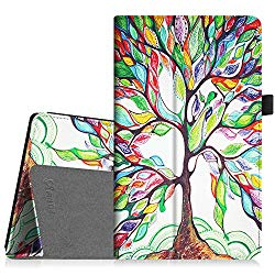 Fintie Folio Case for All-New Amazon Fire HD 8 Tablet (Compatible with 7th and 8th Generation Tablets, 2017 and 2018 Releases) – Slim Fit Premium Vegan Leather Standing Protective Cover, Love Tree