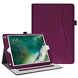 Fintie iPad 9.7 2018 2017 / iPad Air 2 / iPad Air Case – [Corner Protection] Multi-Angle Viewing Folio Cover w/Pocket, Auto Wake/Sleep for Apple iPad 6th / 5th Gen, iPad Air 1/2, Purple