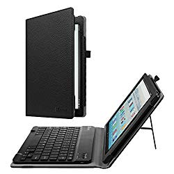 Fintie Keyboard Case for All-New Amazon Fire HD 10 (7th Generation, 2017 Release) – Folio PU Leather Stand Cover with Removable Wireless Bluetooth Keyboard for Fire HD 10.1″ Tablet, Black