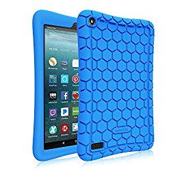 Fintie Silicone Case for all-new Amazon Fire 7 Tablet (7th Generation, 2017 Release) – [Honey Comb Upgraded Version] [Kids Friendly] Light Weight [Anti Slip] Shock Proof Protective Cover, Blue