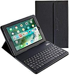 iPad Mini Keyboard + Leather Case, Alpatronix KX101 Bluetooth iPad Mini Keyboard Smart Case w/Removable Wireless Keyboard, Folio Protection & Built-in Tablet Stand for iPad Mini 4, 3, 2, 1 – Black