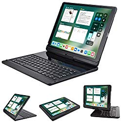 Keyboard case Compatible with iPad pro 12.9 inch 2015&2017 2nd Gen, Lenrich 360 Rotatable Wireless Keyboard Smart Folio Swivel Stand Hard Shell Cover Auto Sleep/Wake up Black