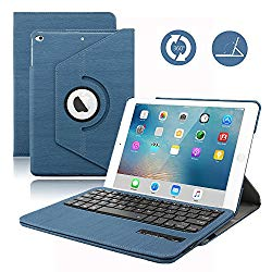 Keyboard Case for 2018 iPad 9.7 / iPad 9.7 2017,Dingrich 360 Degree Rotating Case with Magnetic Removable Bluetooth Keyboard for New iPad 6th Generation and iPad 5th Genration (Dark Blue)