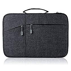Megoo 12 Inch Sleeve Case for Microsoft New Surface Pro 5/4/3 12.3″, 11″ 12″ Macbook/Dell/Chromebook/Samsung Galaxy Book Tablet Laptop Slim Water Resistant Carrying Case with Handle and Pocket (Black)