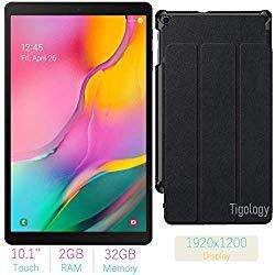 2019 Samsung Galaxy Tab A 10.1-inch Touchscreen (1920×1200) Wi-Fi Tablet Bundle, Exynos 7904A Processor, 2GB RAM, 32GB Memory, BMali-G71 MP2 Graphics, Bluetooth,Tigology Case, Android 9.0 Pie OS