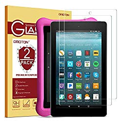 [2-Pack] OMOTON Screen Protector for All-New Fire 7 / Fire 7 Kids Edition Tablet (9th/7th Gen, 2019/2017 Release) – Tempered Glass/High Definition / 9H Hardness