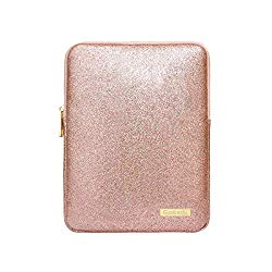 9-11Inch Tablet Sleeve Bag Case, Glitter PU Leather Pouch Cover Cases for iPad 10.5″ 2019, iPad Pro 11 2018, iPad 9.7, Samsung Galaxy Tab, Surface Go 10″ 2018-Rose Gold