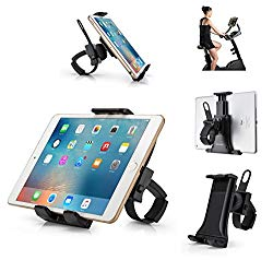 AboveTEK All-in-One Indoor Cycling Bike iPad/iPhone Mount, Portable Compact Tablet Holder for Gym Handlebar on Exercise Bikes & Treadmills, 360° Swivel Stand for 3.5-12″ Tablets/Cell Phones