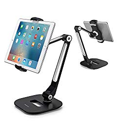 AboveTEK Long Arm Aluminum Tablet Stand, Folding iPad Stand with 360° Swivel iPhone Clamp Mount Holder, Fits 4-11″ Display Tablet/Phones for Kitchen Table Bedside Office Desk POS Kiosk Reception