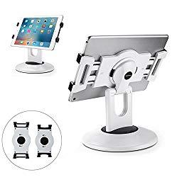 AboveTEK Retail Kiosk iPad Stand, 360° Rotating Commercial Tablet Stand, 6-13.5″ iPad Mini Pro Business Tablet Holder, Swivel Design for Store POS Office Showcase Reception Kitchen Desktop (White)