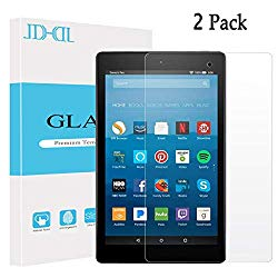 All New Fire HD 8 Tablet Screen Protector Tempered Glass Film [2 Pack] JDHDL Anti Scratch Bubble Free Easy Installation Screen Protector Compatible with Fire HD 8, kids edition Tablet