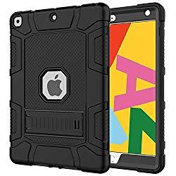 Azzsy iPad 7th Generation Case,iPad 10.2 2019 Case, Slim Heavy Duty Shockproof Rugged High Impact Protective Case for iPad 7th Generation 10.2 inch 2019 Release (Black)
