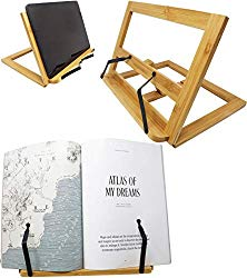 Bamboo Tablet Stand Holder Adjustable Foldable Book Reading Rest Cookbook Recipe Tray