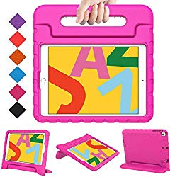 BMOUO New iPad 10.2 2019 Kids Case, iPad 7th Generation Case, iPad 10.2 2019 Case, Shockproof Light Weight Convertible Handle Stand Case for iPad 10.2″ Latest Model (A2197 A2200 A2198), Rose