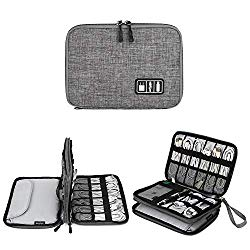"Electronics Organizer, Jelly Comb Electronic Accessories Cable Organizer Bag Waterproof Travel Cable Storage Bag for Charging Cable, Cellphone, Mini Tablet (Up to 7.9"") and More (Grey)"