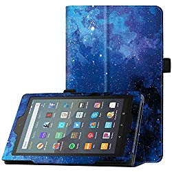Famavala Folio Case Cover Compatible with 7″ Amazon Kindle Fire 7 Tablet (9th Generation, 2019 Release) (Blugaxy)