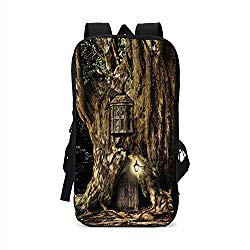 Fantasy Stylish Compatible with iPad Backpack,Fairytale House in Tree Trunk in Forest with Lanterns Folk Stories Themed Design for School Office,One Size
