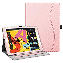 Fintie Case for New iPad 7th Generation 10.2 Inch 2019 – [Corner Protection] Multi-Angle Viewing Folio Smart Stand Back Cover with Pocket, Pencil Holder, Auto Wake/Sleep for iPad 10.2″, Rose Gold