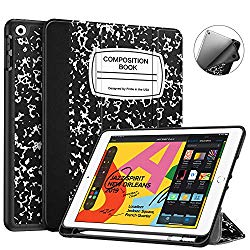 Fintie SlimShell Case for New iPad 7th Generation 10.2 Inch 2019 w/Built-in Pencil Holder – Lightweight Smart Stand Soft TPU Back Cover, Auto Wake/Sleep for iPad 10.2″ Tablet, Composition Book Black