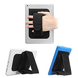 Fintie Universal Tablet Hand Strap Holder – [Dual Stand Supports] Detachable Padded Hook & Loop Fastening Handle Grip with Adhesive Patch for iPad/Galaxy Tab/Fire and All 7-11″ Tablets, Black