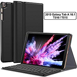 Galaxy Tab A 10.1 2019 Case with Keyboard T510 T515 – Folio PU Leather Stand Case – Magnetically Detachable Wireless Keyboard Case for Samsung Galaxy Tab A 10.1 Inch SM-T510 SM-T515 2019