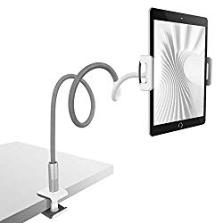 Gooseneck Tablet Holder, Lamicall Tablet Stand: Flexible Arm Clip Tablet Mount Compatible with iPad Mini Pro Air, Nintendo Switch, Samsung Galaxy Tabs, More 4.7-10.5″ Devices – Gray