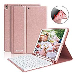 iPad 10.5 Keyboard Case with Pencil Holder for iPad Air 3 2019/iPad Pro 10.5″ 2017,Magnetically Bluetooth Keyboard,iPad Case with Detachable Keyboard (Champagne)