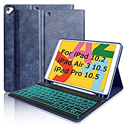 iPad 7th Generation Keyboard Case for iPad 10.2 2019, Keyboard Case for iPad 10.5 2019 iPad Air 3 iPad pro 10.5 2017 with Pencil Holder Backlit Bluetooth Detachable Keyboard Cover for iPad 10.2/10.5