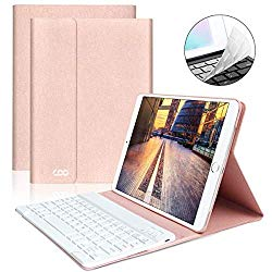 iPad Keyboard Case 9.7″ 6th Generation for New iPad 2018/2017 (5th Gen) – iPad Air 2/Air 1 – Wireless Bluetooth Keyboard – Magnetic Auto Sleep/Wake (Pink with White Keyboard)