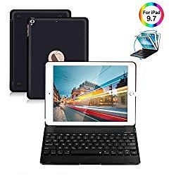 iPad Keyboard Case 9.7 for iPad 2018 (6th Gen) iPad 2017 (5th Gen) iPad Pro 9.7 iPad Air 2 & 1 Wireless Keyboard Auto Sleep/Wake iPad Case with Keyboard (Black